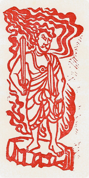 Fudo, Woodcut by Michael Corr